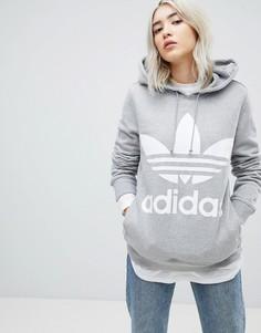 Худи серого цвета с логотипом-трилистником adidas Originals adicolor - Серый