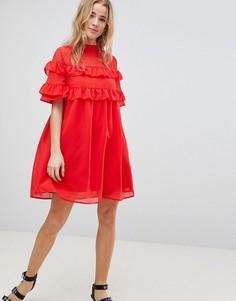 Свободное платье с оборками Influence - Красный