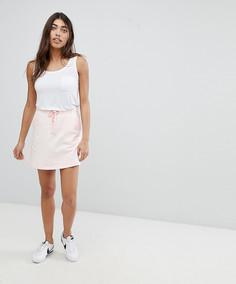 Короткая расклешенная юбка с затягивающимся шнурком Noisy May - Розовый