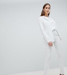 Строгие брюки в полоску Missguided Tall - Белый