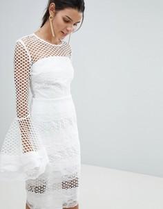 Кружевное платье миди с расклешенными рукавами Bronx and Banco - Белый