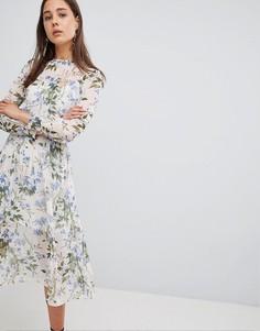 Летнее платье миди с цветочным принтом New Look - Белый