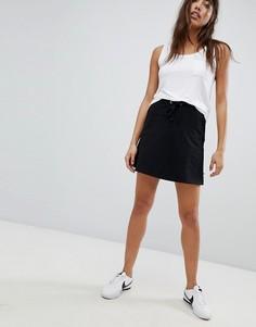 Короткая расклешенная юбка с затягивающимся шнурком Noisy May - Черный