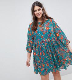 Свободное платье с цветочным принтом ASOS CURVE - Черный
