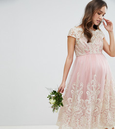 Кружевное платье миди Chi Chi London Maternity Premium - Розовый