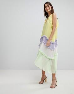 Ярусное платье миди с оборками Three Floor - Мульти