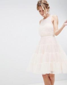 Сетчатое платье для выпускного с ярусной юбкой Little Mistress - Розовый