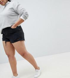 Черные джинсовые шорты с необработанным краем и прорехами ASOS DESIGN Curve - Черный