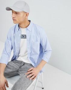 Голубая поплиновая рубашка с воротником на пуговицах и логотипом Abercrombie & Fitch - Синий