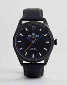 Часы с черным кожаным ремешком Ben Sherman WB019BB - Черный