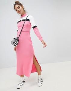 Спортивное платье макси в стиле колор блок ASOS DESIGN - Мульти