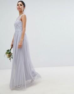 Платье макси с отделкой искусственным мехом Little Mistress - Синий