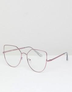 Очки кошачий глаз с прозрачными стеклами Jeepers Peepers - Розовый