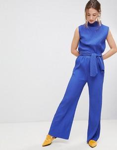 Расклешенные брюки с завышенной талией mByM - Синий