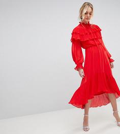 Платье макси с ярусными оборками и воротником с бантом-завязкой Yas Tall Gaho - Красный