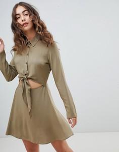 Платье-рубашка мини с завязкой спереди ASOS DESIGN - Зеленый