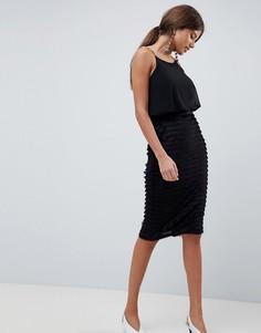 Плиссированное платье миди на тонких бретельках Traffic People - Черный