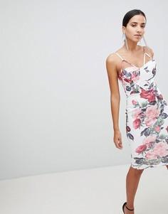 Облегающее платье с цветочным принтом и двойными бретельками Ax Paris - Белый