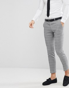 Серые зауженные брюки в клетку Moss London - Серый