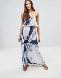Пляжное платье макси с принтом тай-дай и неоновой отделкой Anmol - Белый