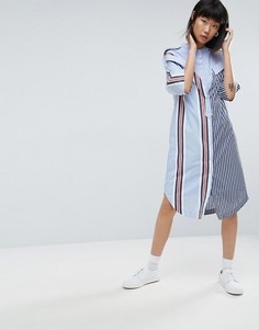 Платье-рубашка в полоску с заниженной линией плеч ASOS WHITE - Мульти