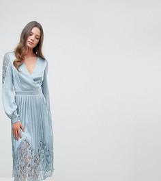 Платье миди с запахом и плиссированной юбкой с кружевной отделкой Little Mistress Tall - Синий