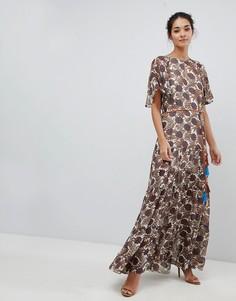 Шифоновое платье макси с принтом и поясом Traffic People - Кремовый