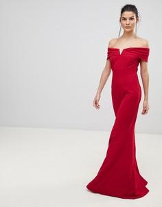 Платье макси с широким вырезом City Goddess - Красный