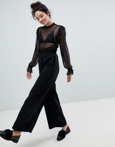 Широкие брюки с завышенной талией Monki - Черный