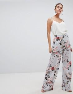 Широкие брюки с цветочным принтом PrettyLittleThing - Синий