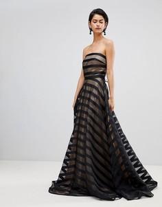 Вечернее платье в полоску с открытыми плечами Forever Unique - Черный