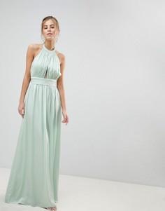 Платье-халтер макси Little Mistress - Зеленый