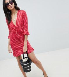 Чайное платье в горошек Missguided Tall - Красный