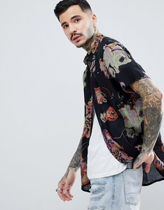 Рубашка с цветочным принтом Rollas - Черный Rollas