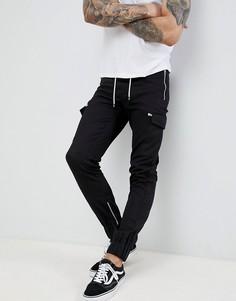 Черные брюки карго с затягивающимся шнурком boohooMAN - Черный