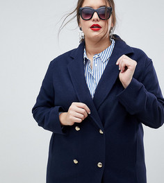 Пальто в стиле милитари из смешанной шерсти Helene Berman Plus - Темно-синий