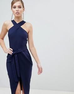 Платье миди с запахом на юбке и поясом Lavish Alice - Темно-синий
