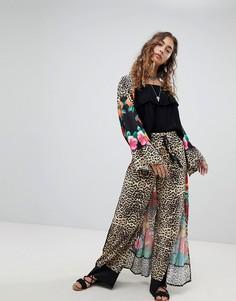 Широкие комбинируемые брюки с леопардовым принтом Kiss The Sky - Мульти