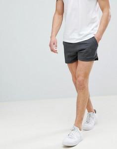 Темно-серые меланжевые облегающие трикотажные шорты с разрезами ASOS DESIGN - Серый