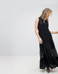 Шелковистое платье макси без рукавов Maison Scotch - Черный