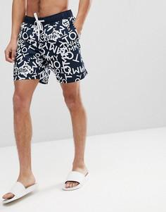 Темно-синие шорты для плавания с принтом логотипа и затягивающимся шнурком Tommy Hilfiger - Темно-синий