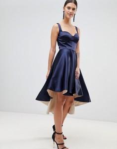 Атласное платье с асимметричным подолом Forever Unique - Темно-синий