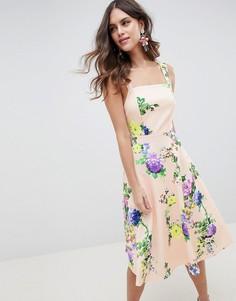 dd16ca7a2d559ce Платье миди для выпускного с цветочным принтом ASOS DESIGN - Мульти