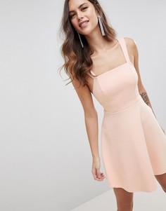 Платье мини для выпускного с квадратным вырезом ASOS DESIGN - Розовый
