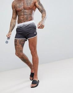 Черные шорты в крапинку с эффектом выцветания для бега и плавания Hype - Черный