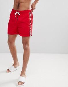 Красные шорты для плавания с затягивающимся шнурком, полосками и логотипом Tommy Hilfiger - Красный