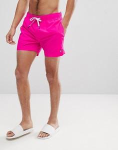 Ярко-розовые шорты для плавания со шнурком на поясе и логотипом Tommy Hilfiger - Розовый