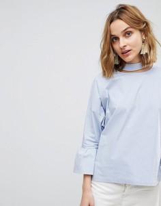 Блузка с оборками на рукавах и лентой вокруг шеи Resume Aure - Синий Résumé