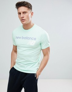 Зеленая футболка с классическим логотипом New Balance MT73581_SEF - Синий