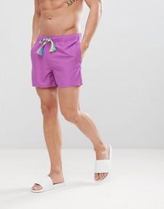 Короткие фиолетовые шорты для плавания со шнурком ASOS - Фиолетовый